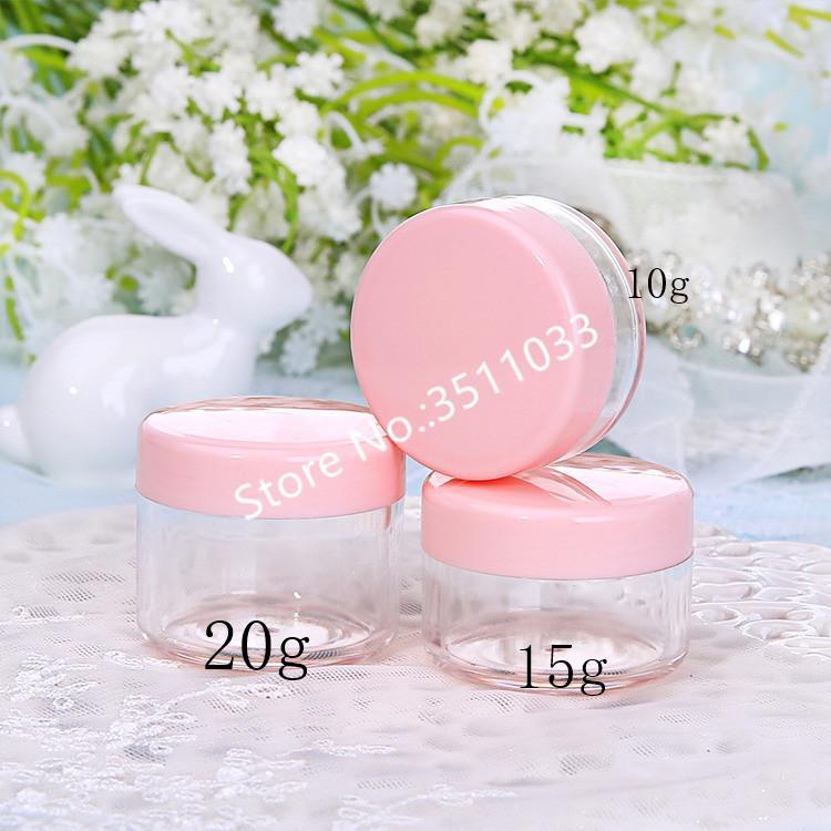 50PCS 20g Claro envase cosmético tarro Pot clavo del brillo de la caja de plástico recargable Crema Jewel Case redondo colorido Botella