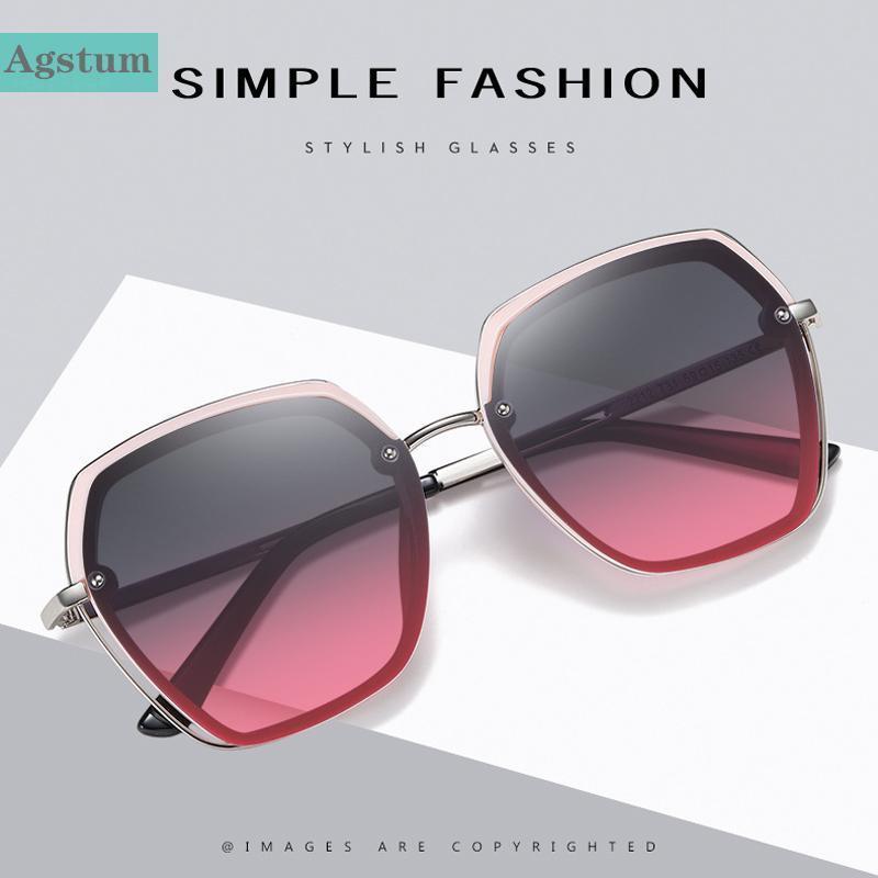 Mulheres Oversize UV400 Lente Óculos de Sol Viagens Metal Polygon Moda Polígono Condução de Óculos Gradiente JJBSC