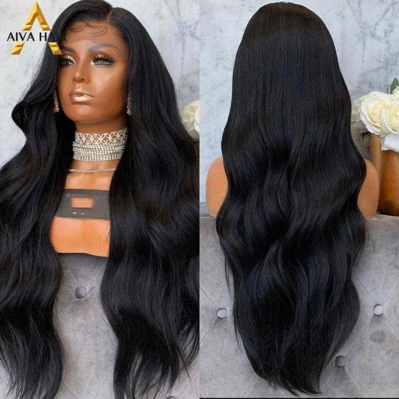 Aiva longa onda do corpo preto peruca Glueless sintética peruca dianteira do laço 180% Densidade de alta temperatura fibra para Mulheres Negras V7Fu #
