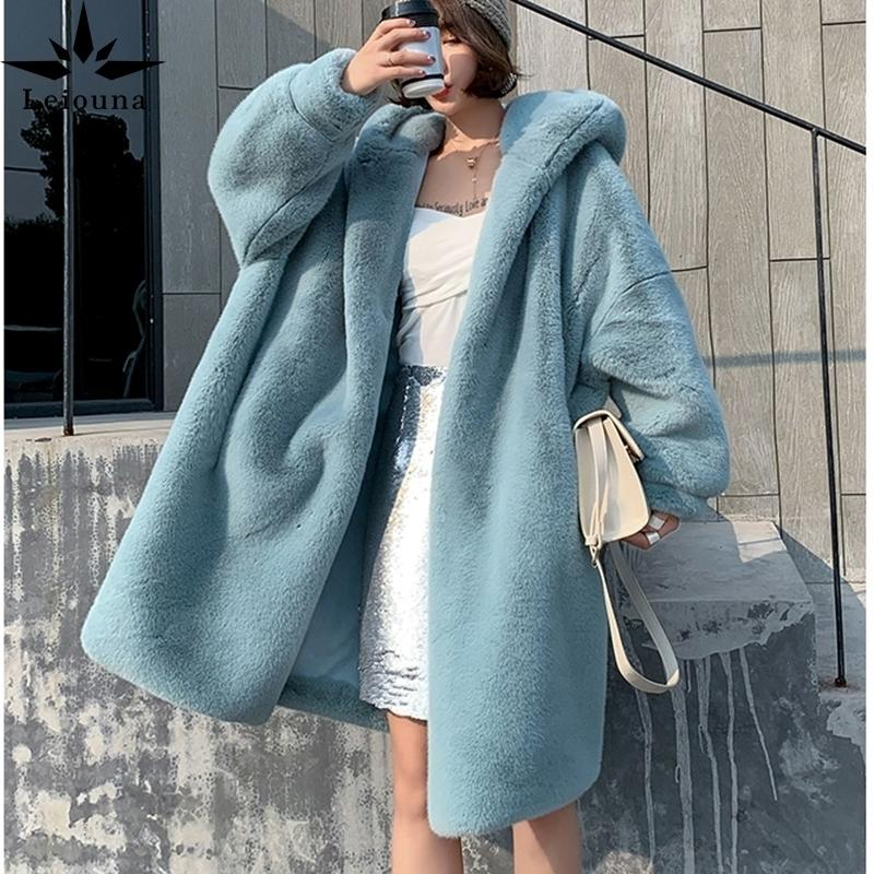 Leiouna Largo Grueso Flojo Invierno Moda Nuevas Mujer Mink Fur Parker Abrigos Abrigos de cuero enteros Marten Cálido Marten Encuadre con capucha Abrigos 201029
