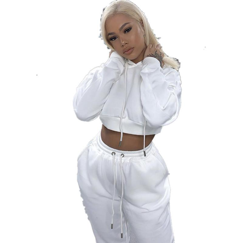 Donne due pezzi set in cotone solido Felpe con cappuccio caldo con cappuccio con cappuccio cround e lunga pantalone moda donna tuta sportswear