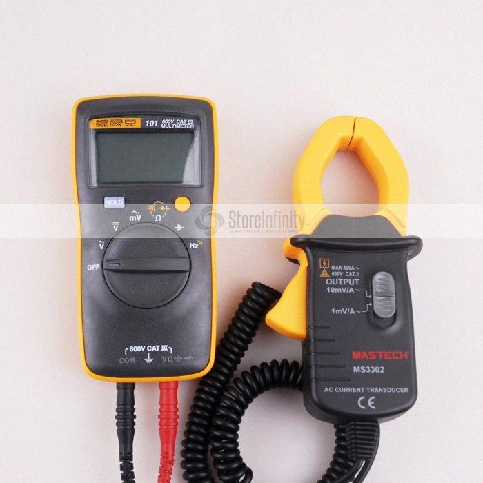 Fluke 101 Grund Digital-Multimeter Taschen Digital-Multimeter Autorange MS3302 AC Stromwandler 0,1A-400A-Zangenmessgerät 0Lmx #