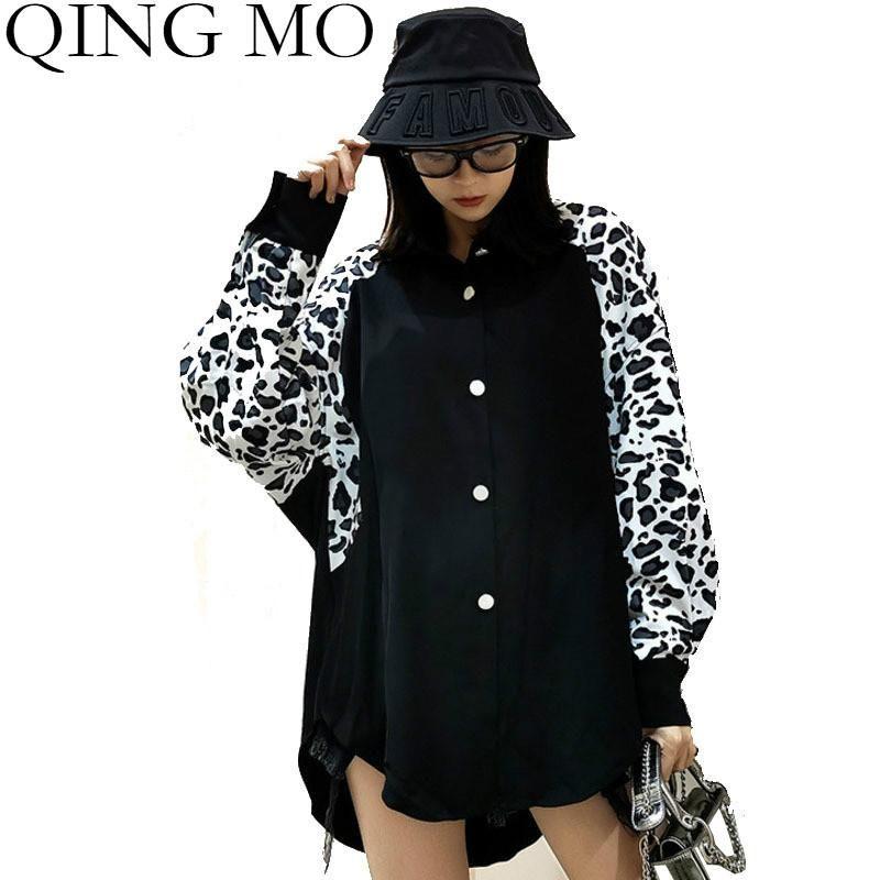 Camisas de las blusas de las mujeres Qing MO Black Women Leopard Sleeve Shirt 2021 Spring Irregular Blusa Femenino Flojo Zqy6301