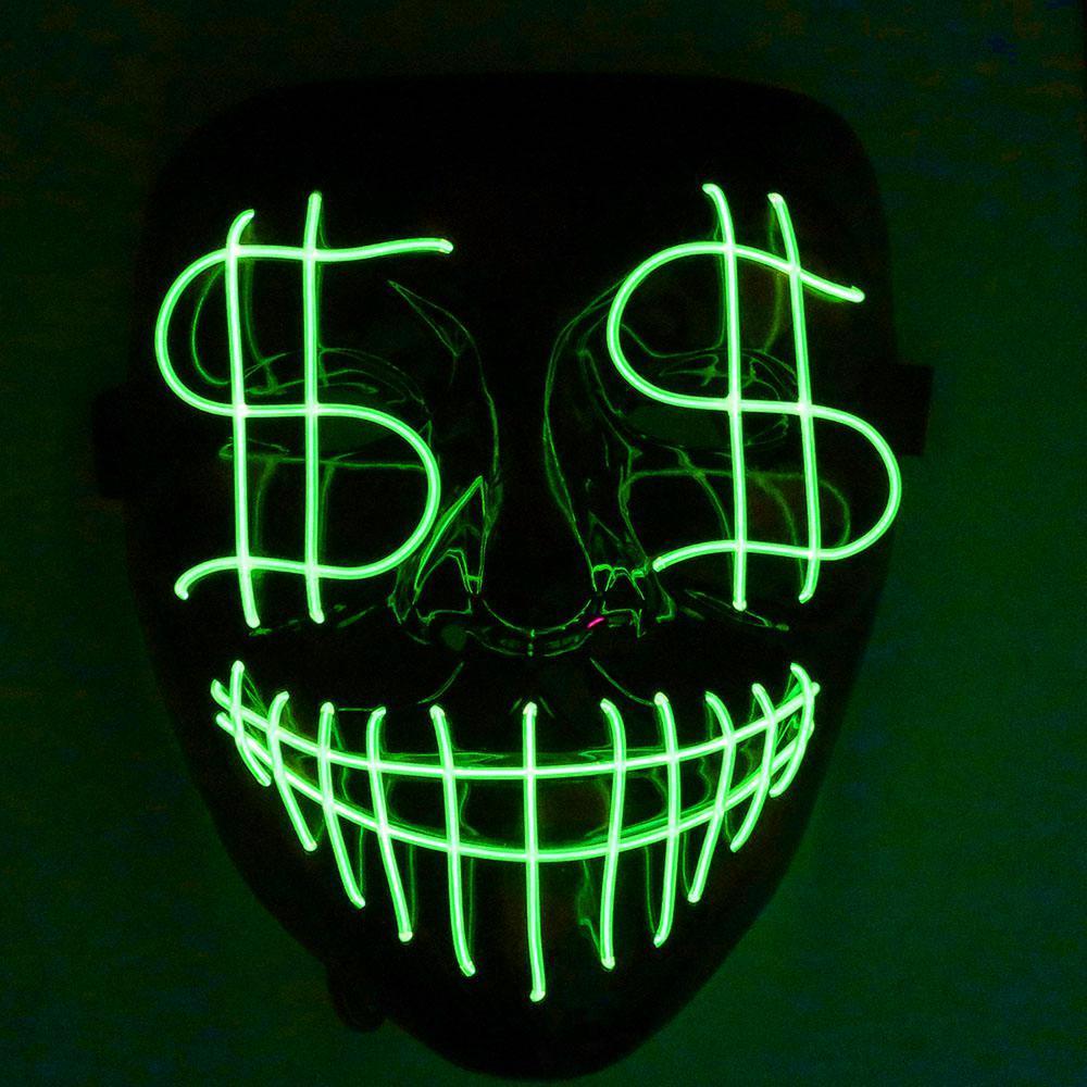 Cadılar Bayramı Noel Lider Gece Işığı Maskesi Dolar Grimace Kanlı El Hattı Parti Club Bar Dj Işık Tam Kapak Led Maskesi