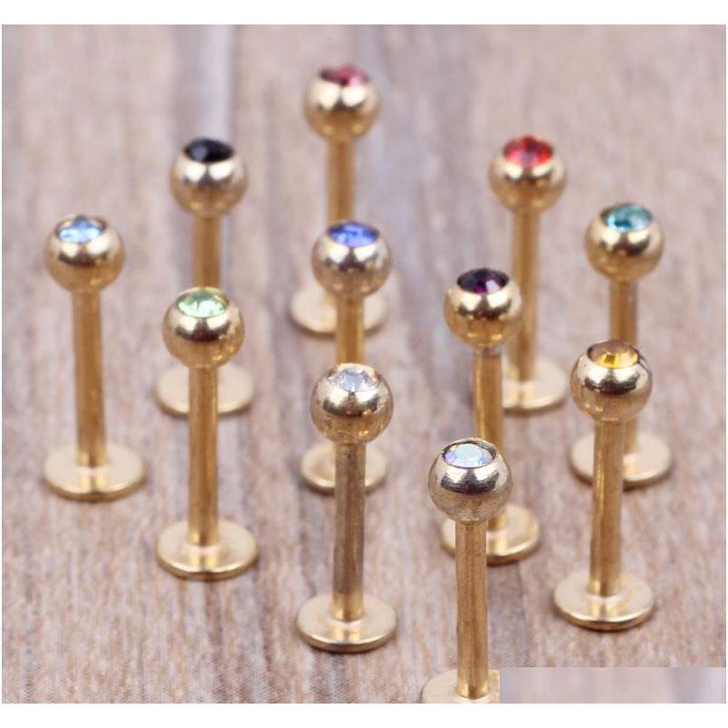 Bar à lèvres d'or 100pcs / lot mélange 7 couleurs bijoux de corps en acier Pierci sqccrm homes2007