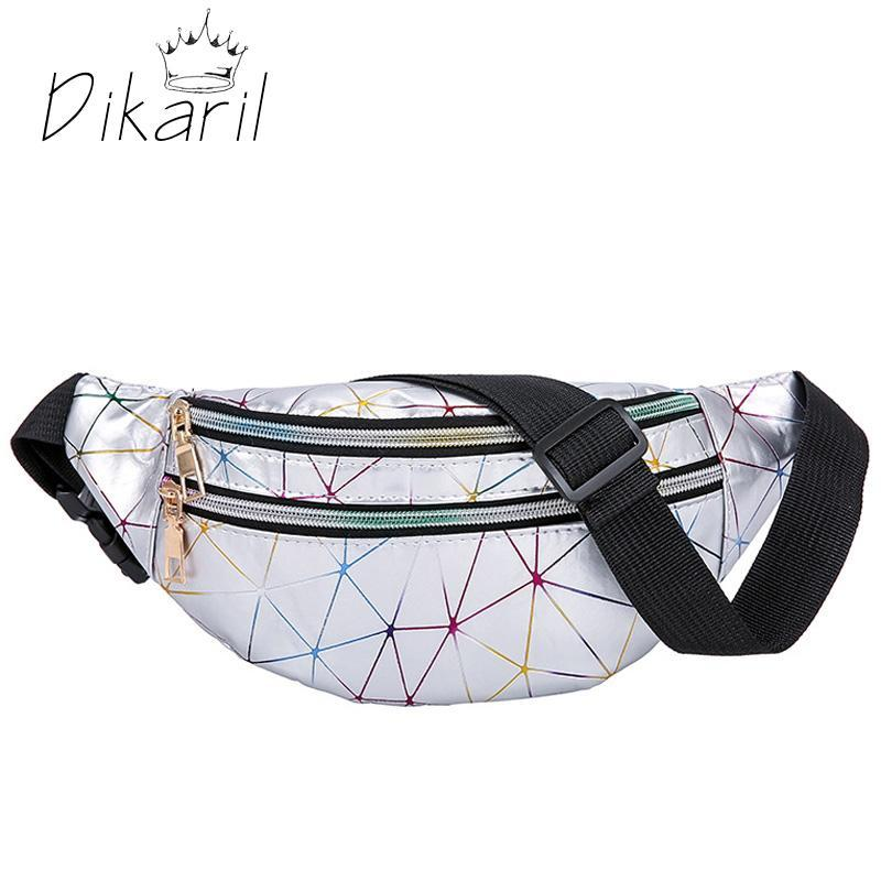Dikaril Bolsas holográficas de la cintura Mujeres Fanny PU Cuero parpadeante Cinturón de celosería Bolsa de cintura geométrica Paquetes de cintura con láser Teléfono de pecho