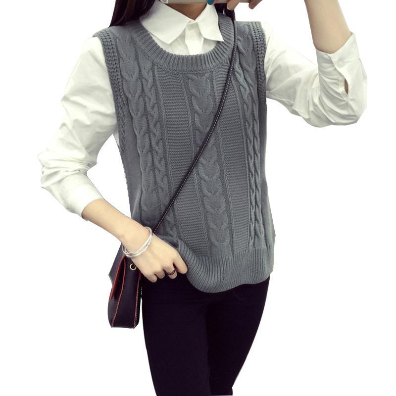 Primavera Modis coreano mangas Coletes Para Tops mulheres Coletes Assimetria Magro Feminino malha Vest O pescoço pulôver de malha Mulheres