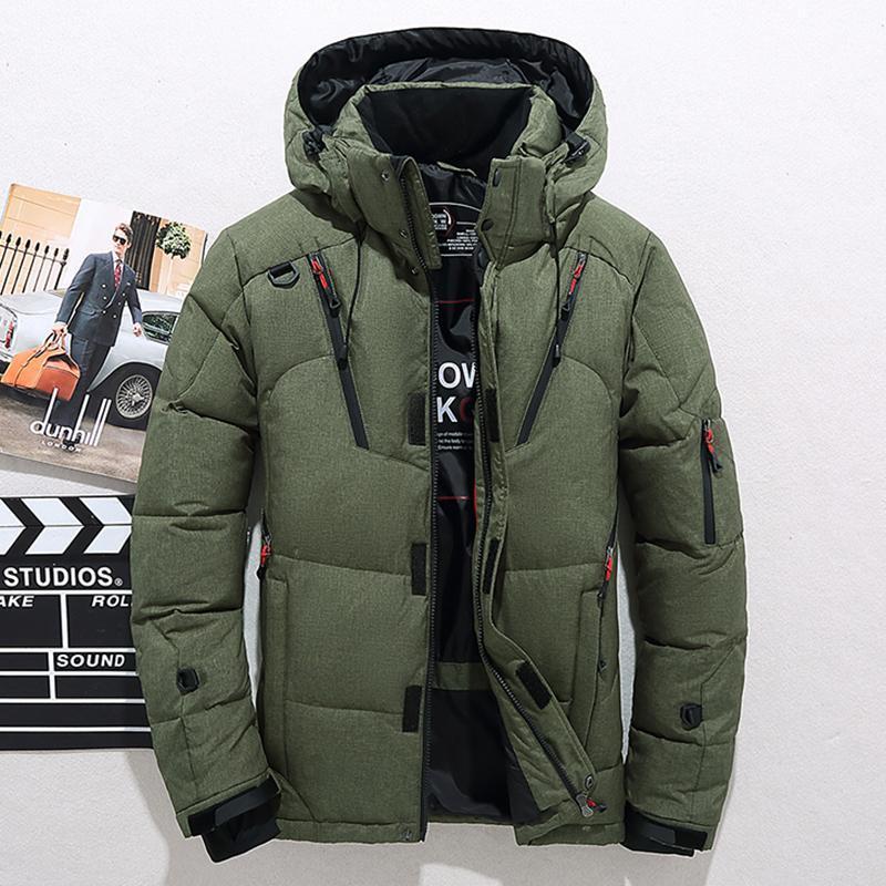 Männer Daunen Qualitäts-starke warme Winterjacke mit Kapuze verdicken Duck Down Parka-Mantel-beiläufigem dünnen Zieher mit vielen Taschen Herren