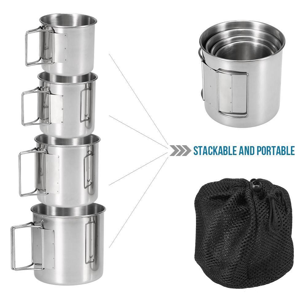 Maniglie 4 pezzi in acciaio tazze in acciaio per esterni da tavola Pot Water Cup Mug Con pieghevole per campeggio di picnic Treking Viaggio C1108