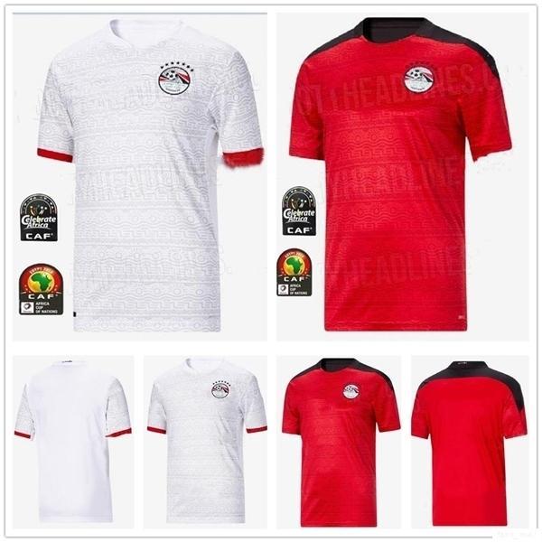 2020 مصر الجديدة لكرة القدم الفانيلة M. SALAH الكهرباء A. HEGAZI رمضان M.ELNENY مخصص 20 21 الإياب أحمر أبيض كرة قدم قميص الزي الرسمي