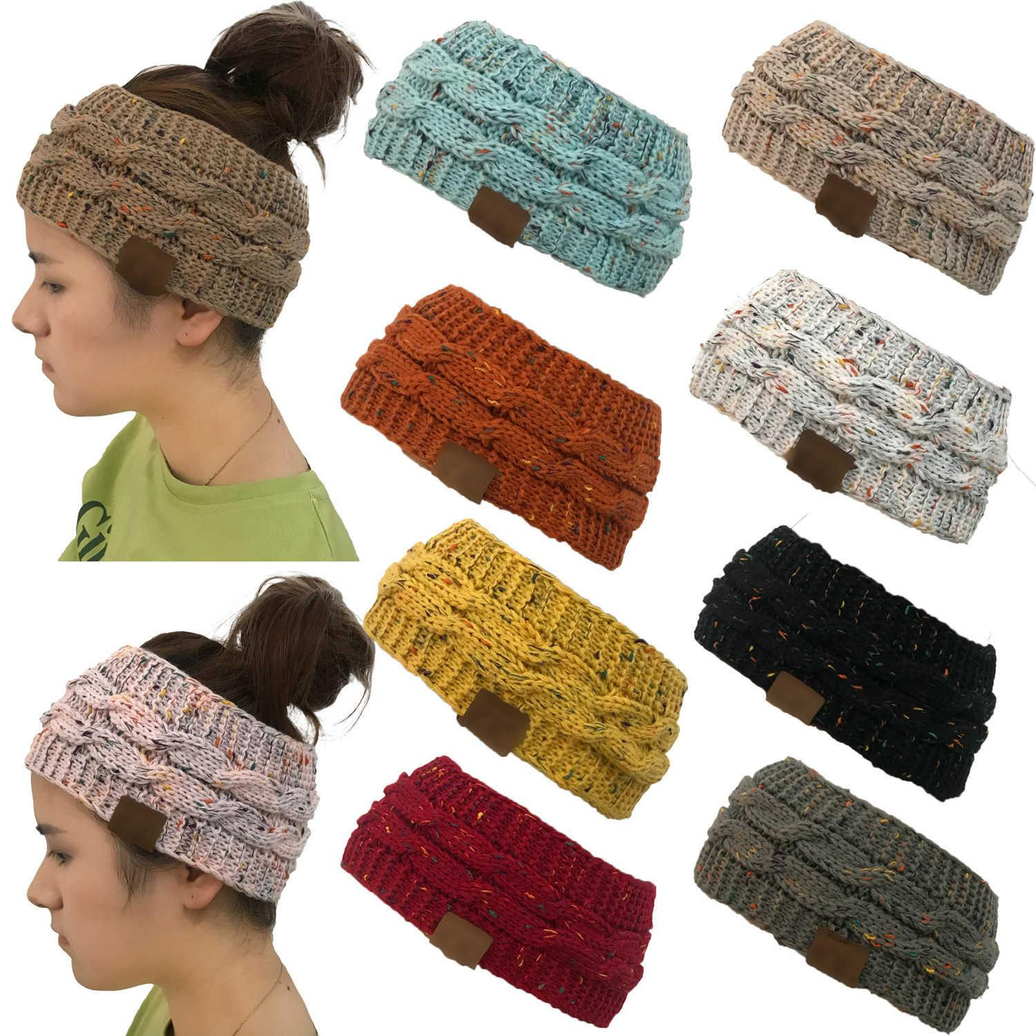 Colorful Knitted Ponytail Hats Hairband Crochet Twist Headband Winter Ear Warmer Elastic Band Wide Hair Accessories Party Favor RRA3732