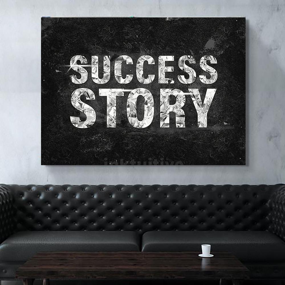 Lienzo HD imprime la historia de éxito de la pared del arte Fotos Blanco y Negro Pintura Decoración nórdica modular cartel de estar Marco de habitaciones