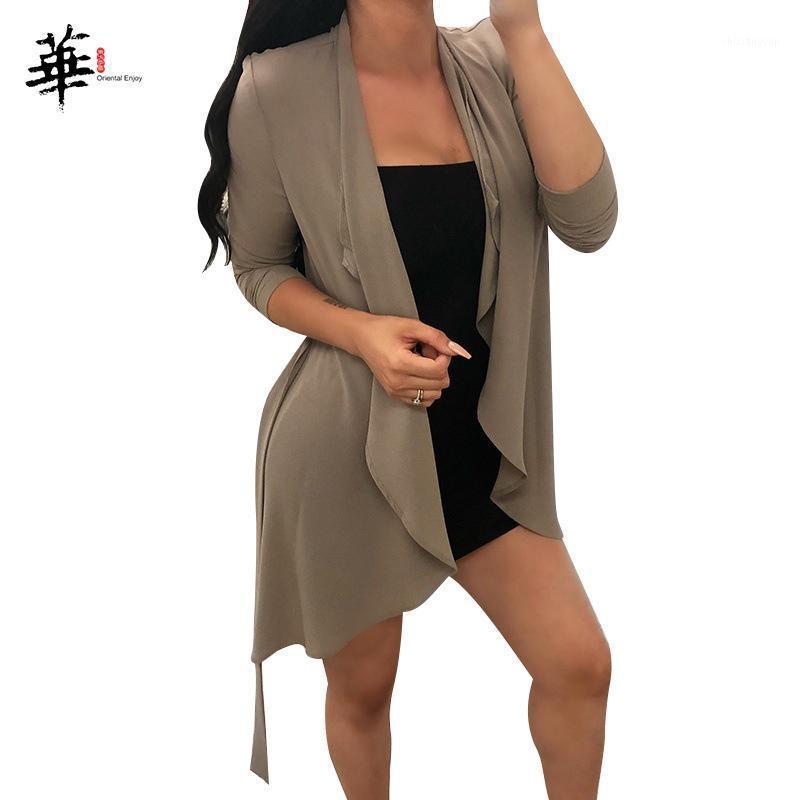 Baumwoll-Festkörper-Kragen-Klebeband-Lace-Up-Langlangen Herbst-Womens-Mäntel 2019 Damen Casual Cardigan Oberbekleidung Kleidung für weiblich1