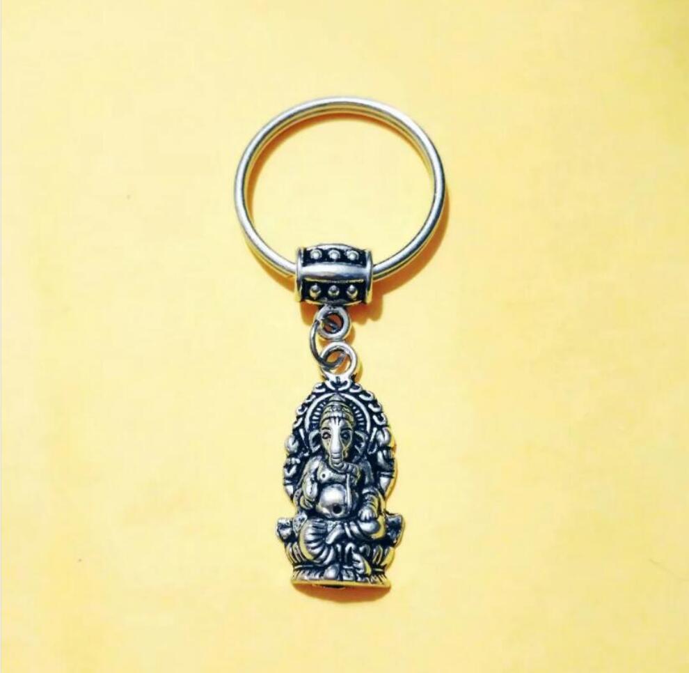 NEW HOT Fashion jewelry Elephant Buddha Ganesha Keychain - charm pendant key chain ring DIY Fit Keychain - 210
