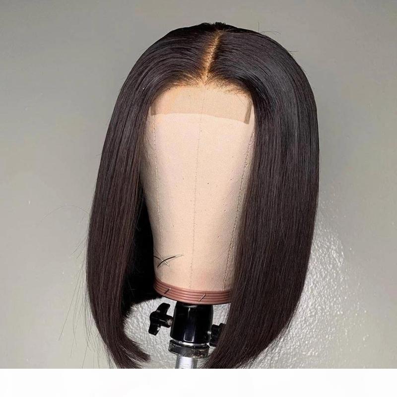 2x6 Bob Dantel Kapatma Peruk Brezilyalı Bakire Saç Düz Dantel Frontal İnsan Saç Peruk İsviçre Dantel Frontal Peruk Ön Kopardı