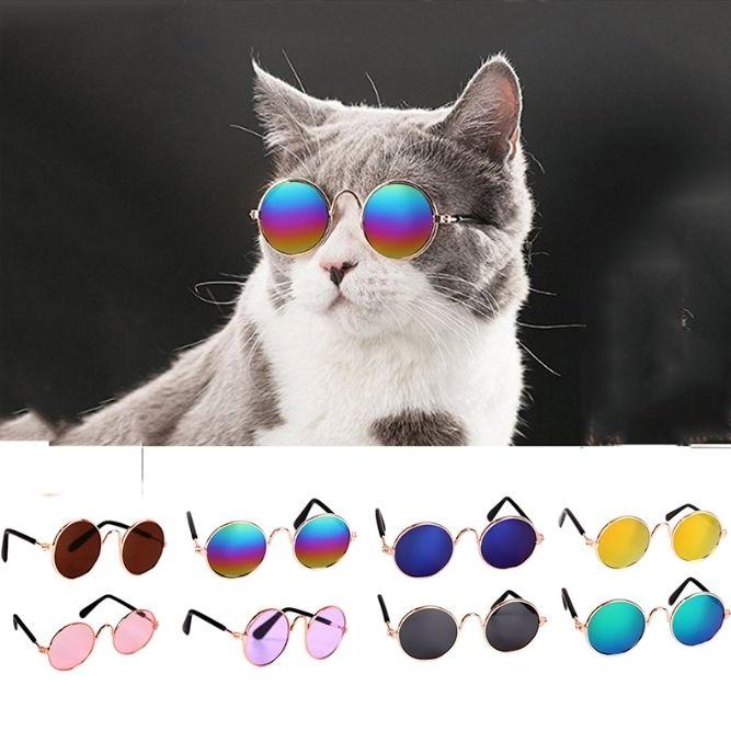 Pet Kedi Gözlük Retro Yuvarlak Köpek Güneş Pet Güneş Gözlükleri Komik Kedi Resimleri Dikmeler Hayvan 11 Renkler Malzemeleri