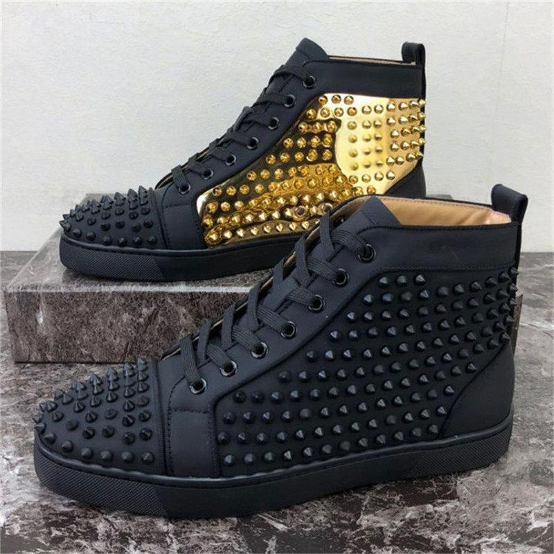 2021 Hombres Mujeres Zapatos Casuales Parte inferior Estilista Zapatos Spikes Tachuelas Picos Insider Zapatillas de Moda Negro Rojo Rojo Botas Altas Botas Tamaño 34-48