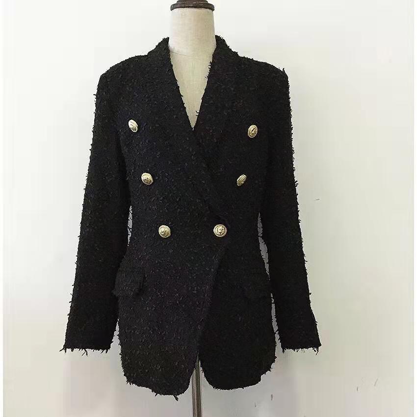 Hot Sale mulheres mistura de lã blazer de luxo designer tweed de lã clássicos blazers pretas brancas outono-inverno casacos Abotoamento