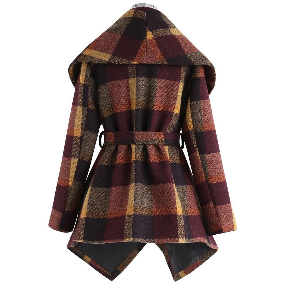 Autumn/Winter Stylish And Warm Sashes Trench Women Woolen Plaid Coats Turn-Down Collar Medium-Long Female Jackets