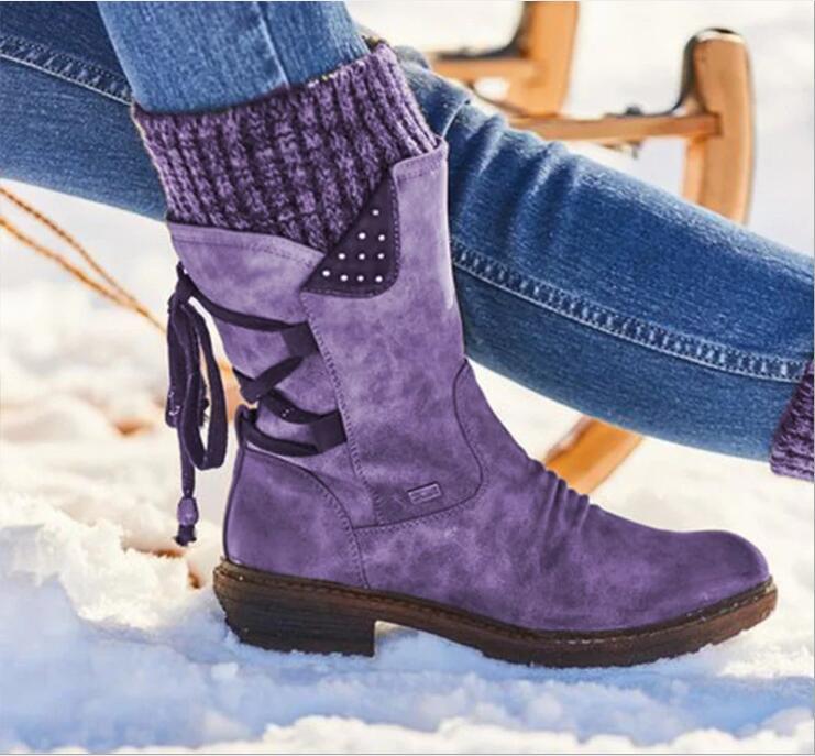 أحذية النساء ريترو الجلد المدبوغ منتصف الساق فلوك شتاء أحذية أزياء السيدات أحذية الثلج الفخذ العليا الجلد المدبوغ الحارة بوتاس صوف محبوك الجوارب والأحذية