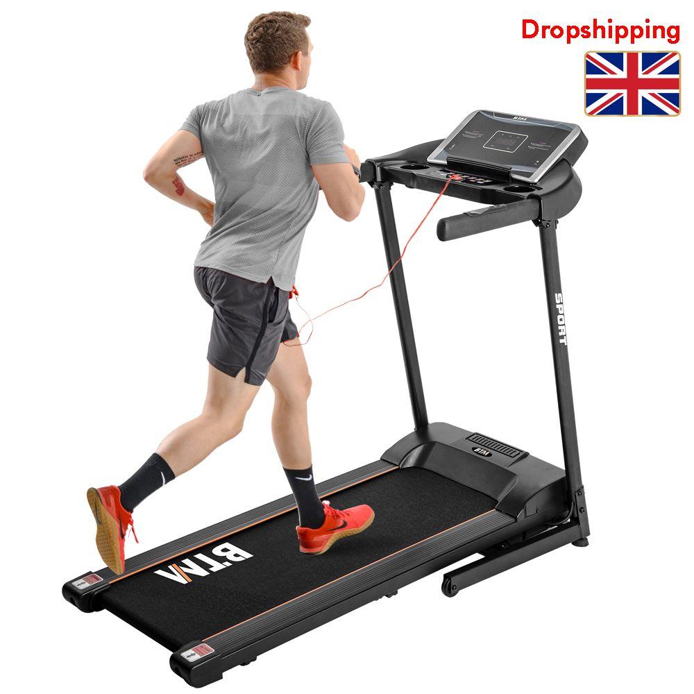 Stock au Royaume-Uni BTM électrique fonctionnement de la machine Pliable Tapis roulant Équipement de conditionnement physique pour Home Gym 1.5HP moteur à haute vitesse 16 km / h 12 programmes