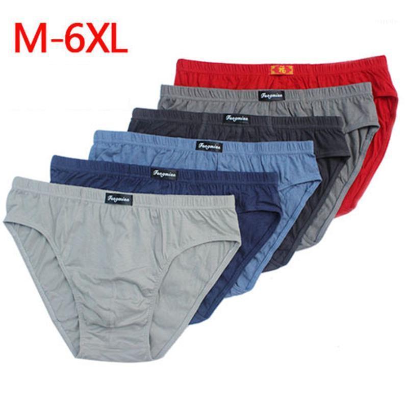 6 pçs / lote 100% de Algodão Mens Briefs Plus Size 4XL / 5XL / 6XL Homens Underwear Calcinha Masculina Respirável Soft Soft Canties1