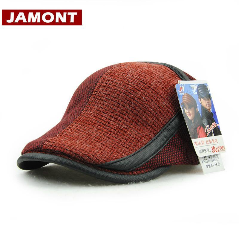 [Jamont] шляпы бренда для мужчин Береты козырьки Cap теплое мужская шапка вязаные козырьки зимние кепки Англия стиль Gorras LJ201125