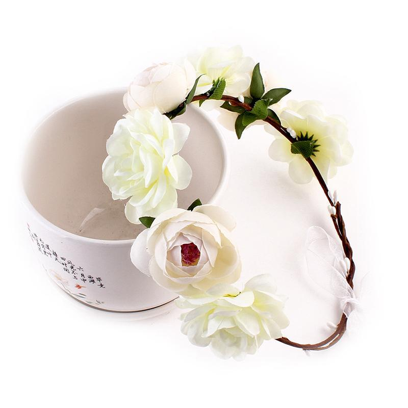 Nupcial do casamento White Rose Flores coroa para as meninas Headband grinalda Headband Flores para Party Decor Hairband Headwear
