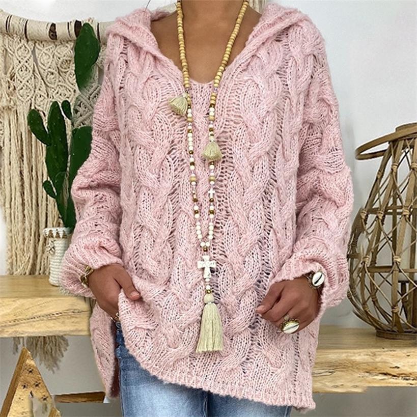 Sexy Deep V-образным вырезом вязаные свитеры Женщины сплошные пуловеры осенью зима негабаритные теплые вершины 201221