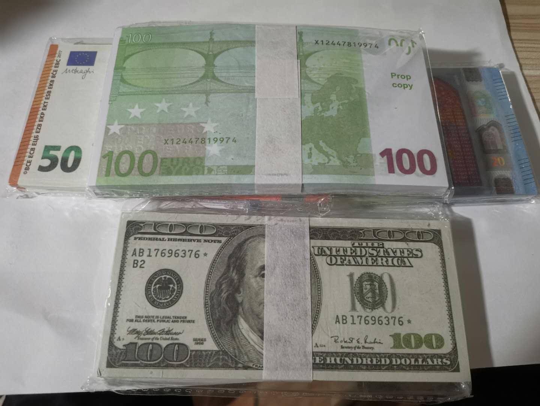 Hot Verkauf von gefälschten Euro-Banknoten Dollar Pfund Kinder Banknoten Requisiten Spielzeug Banknoten Token 100pcs 1 filmt