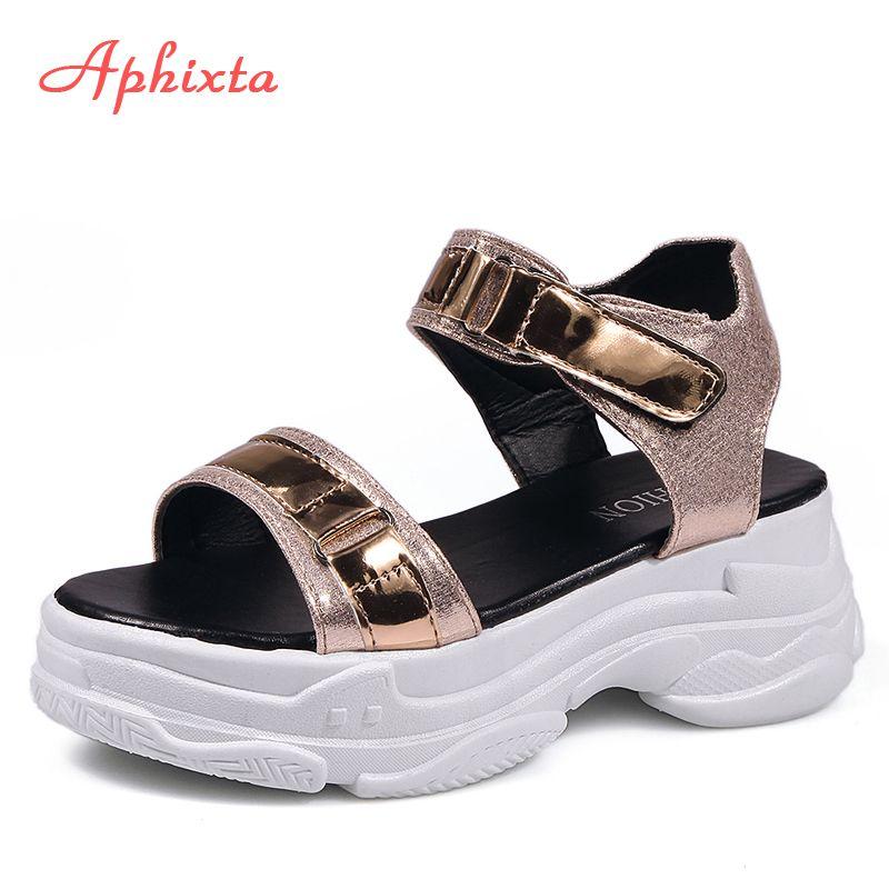 Aphixta 6cm Fersen Platform Sandalen Frauen Wedges Fersen Schuhe Frauen Pailletten Tuch Hakenschleife Zapatos Mujer Hausschuhe Frau Sandale T200529