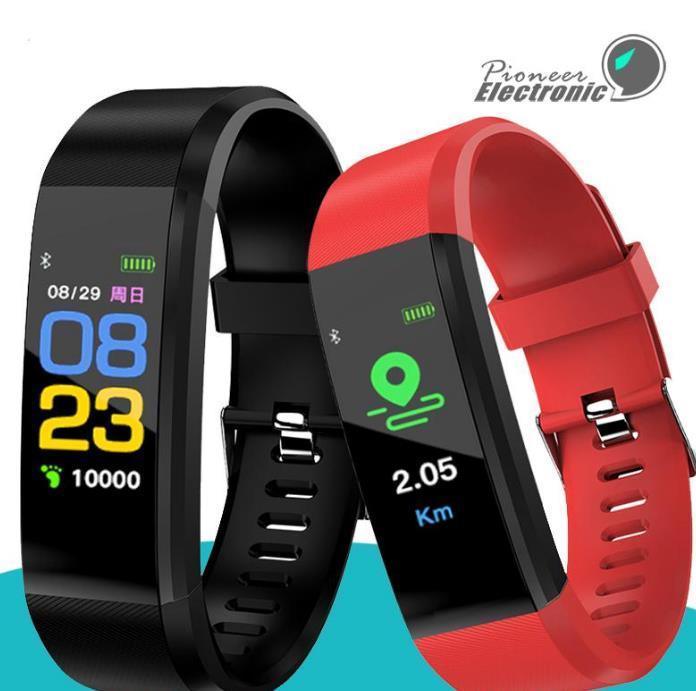 2021 DZ104 Schermo a colori ID115 Plus Braccialetto intelligente Fitness Tracker Pedometro Pedometro Band cardiaca Pressione sanguigna Monitor Smart Wristband