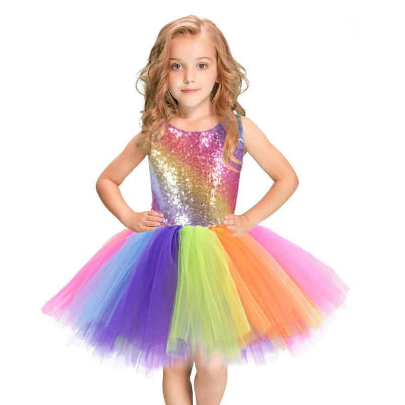 Princesa do arco-íris vestido bebê meninas bola vestido tutu lantejoulas vestidos de noiva vestidos festa trajes para crianças