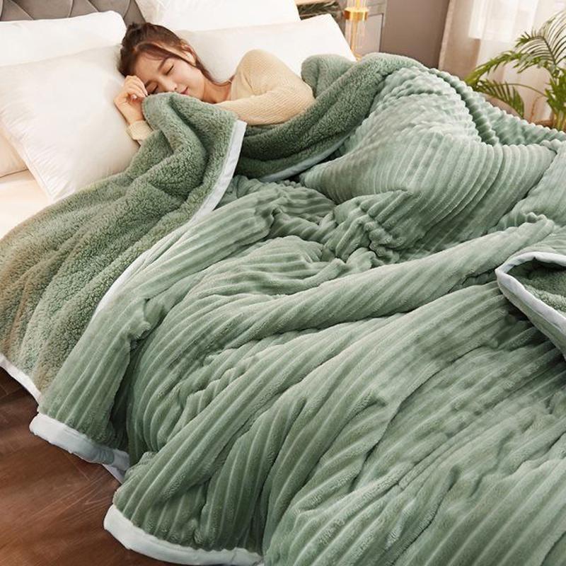 Три слоя армированные армированные коралловые флисовые волшебные флисовые одеяло, зимний свет FAUX MINK Одеял, сплошной розовый синий 220GSM фланелевой кроватей