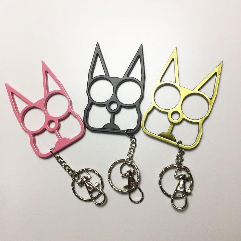 Yaratıcı Kedi Kulakları İki-Parmak Toka Güvenlik Aksesuarları Kadınlar Kızlar Için Kendi Kendini Savunma Anahtarlık Kolye Kendini Savunma Malzemeleri