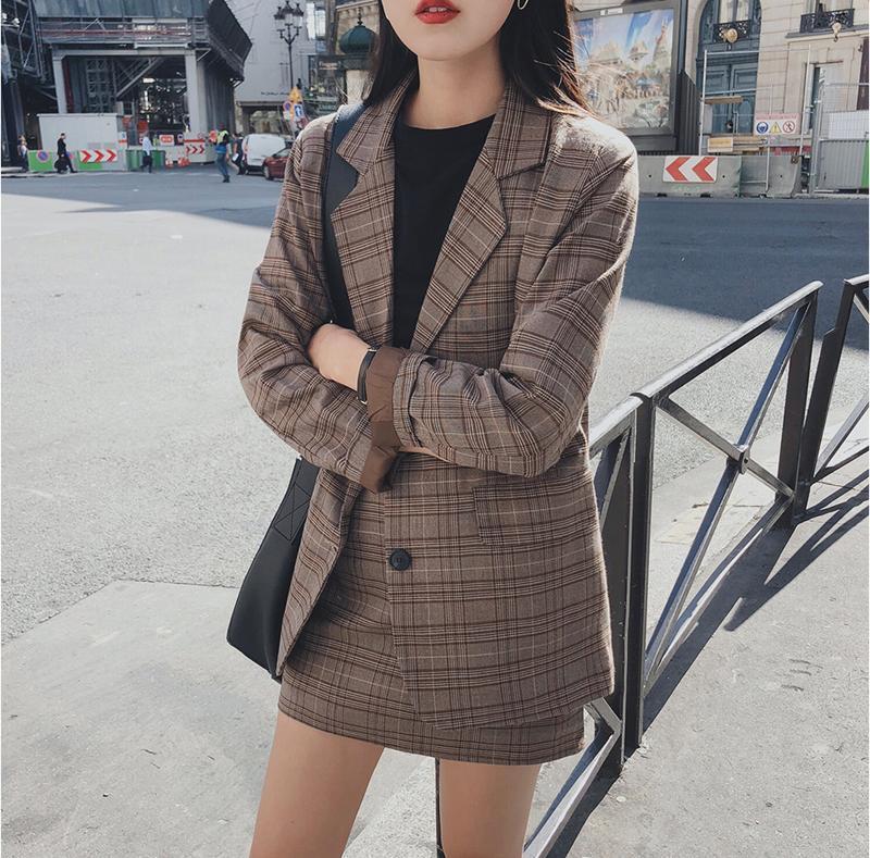 Ретро плед Blazer два куска платья наборы однобортного куртка карандаш юбка 2 штуки костюм для женского офиса женская одежда 2021