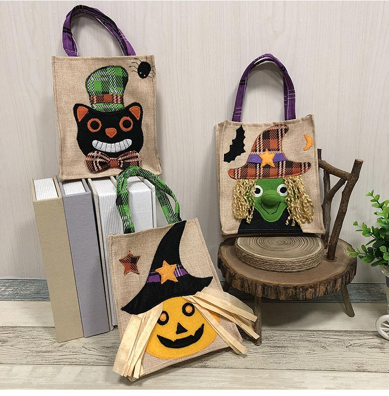 Hot Sale Halloween decorations non-woven pumpkin tote bag handmade candy gift bag
