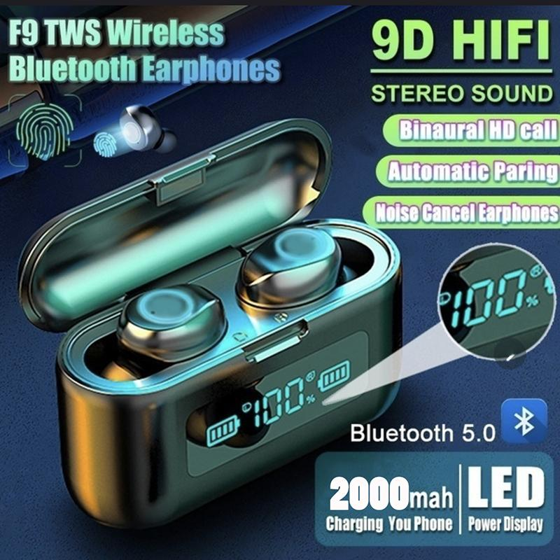 New F9 TWS Bluetooth 5.0 Earphones Charging Box Wireless Headphone 9D Stereo Sports Waterproof Earbuds Headsets With Microphone