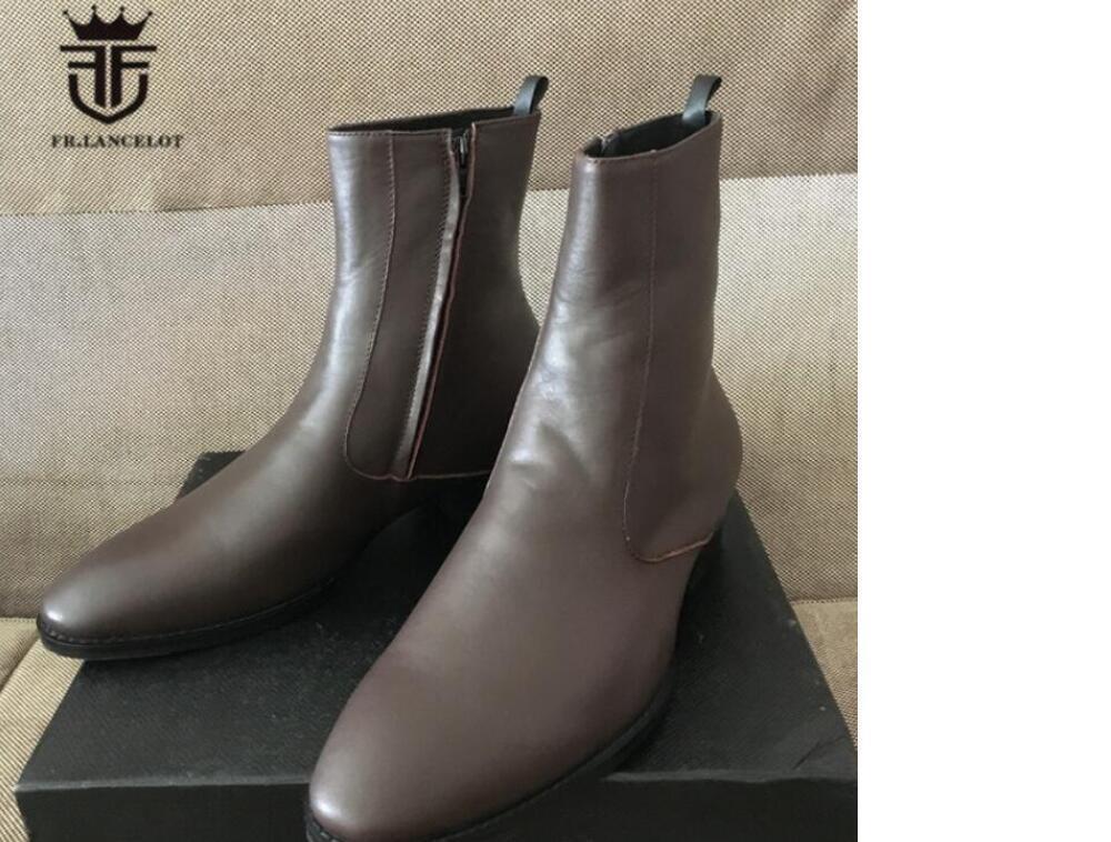 neue 2020 Männer Stiefel dunkelbraun booies zip Echtlederschuhe Männer bis Mujer botas Partei Schuhe Herren Stiefel zu Fuß