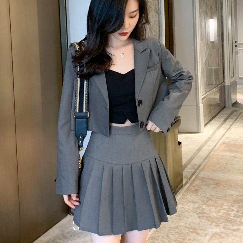 Korean Students Fashion Two Piece Set Women Crop Top Blazer Jacket Coat + Pleated Mini Skirt Suits Slim Autumn Women 2 Piece Set
