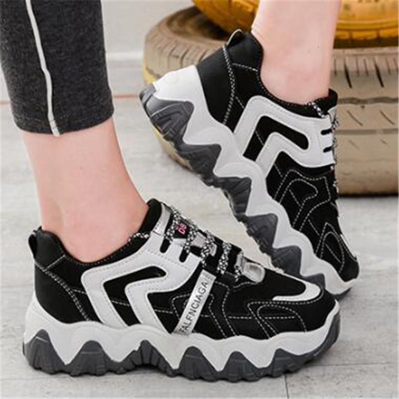 Yeni Bahar 2021 Tıknaz Ulzzang Fashions Kazın Bayan Ayakkabı Siyah Kadınlar Şekil 5 CM H56H