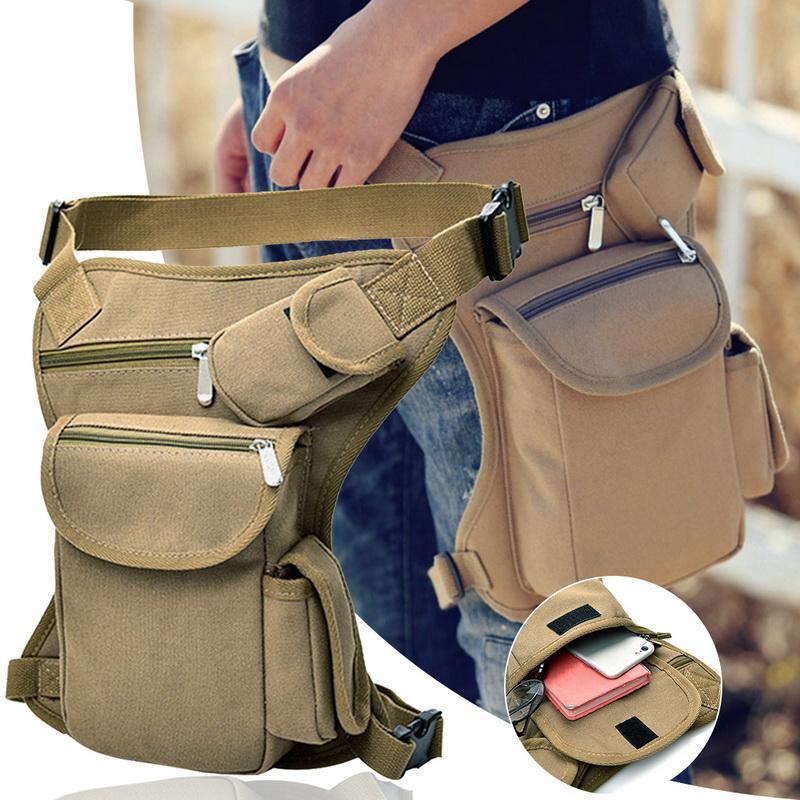 Hombres Tactical Viajes Montar Motocicleta Bolsa Portátil Cintura Messenger Bag Casual Lienzo Drop Might Multi-bolsa