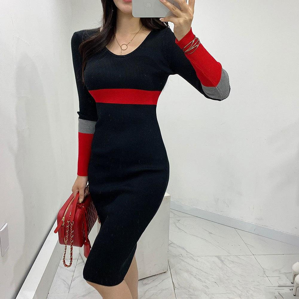 2020 Autumn and winter new style sweater dress fashion v-neck full-sleeve patchwork color jacket knitted dress elegant style