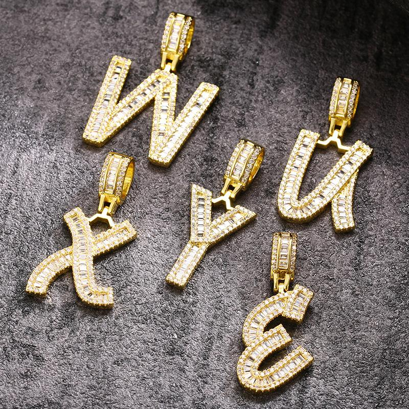 Popular Square Zircon English Letters Men and Women Hip Hop Pendant Minimalist Creative Hipster Necklace Factory Wholesale
