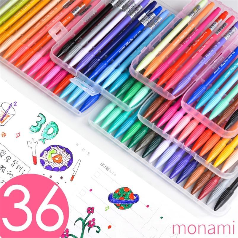 Lápiz de punta de fieltro de color monami para organizador personal boceto 0.5 mm Multi Color Liner Pigmento de agua Aguarculación de agua 3000 201222