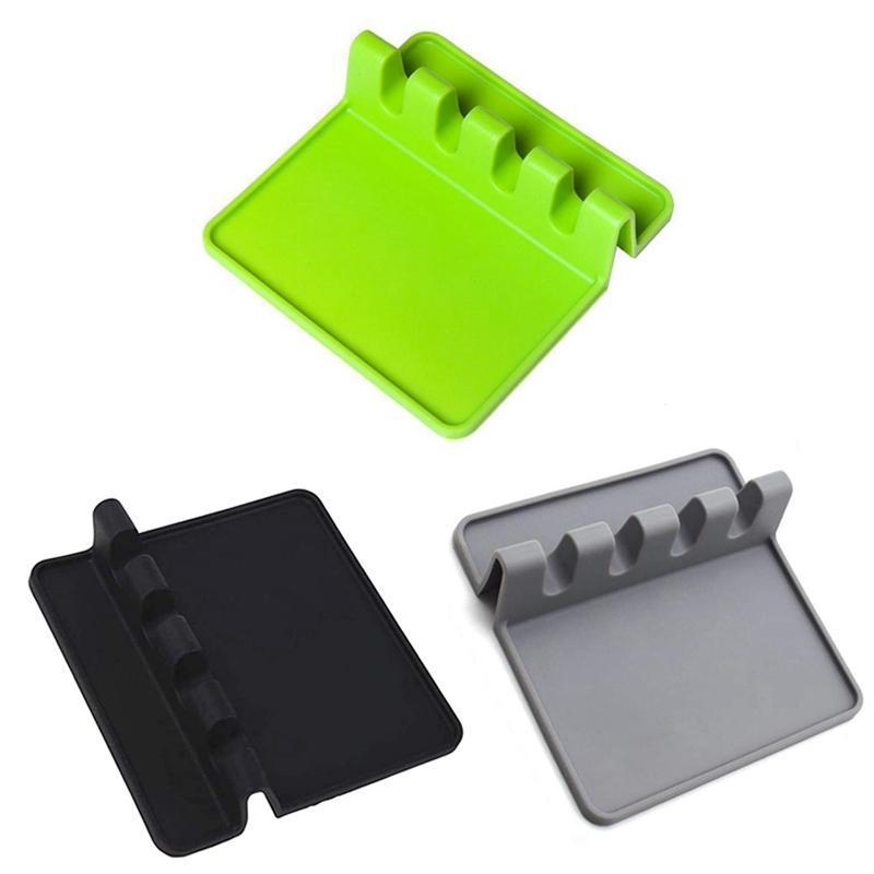 Utensile in silicone REST con cuscinetto a goccia per utensili multipli, resistente al calore, cucchiaio senza cucchiaio BPA, supporto per cucchiaio per stufa in alto, cucina