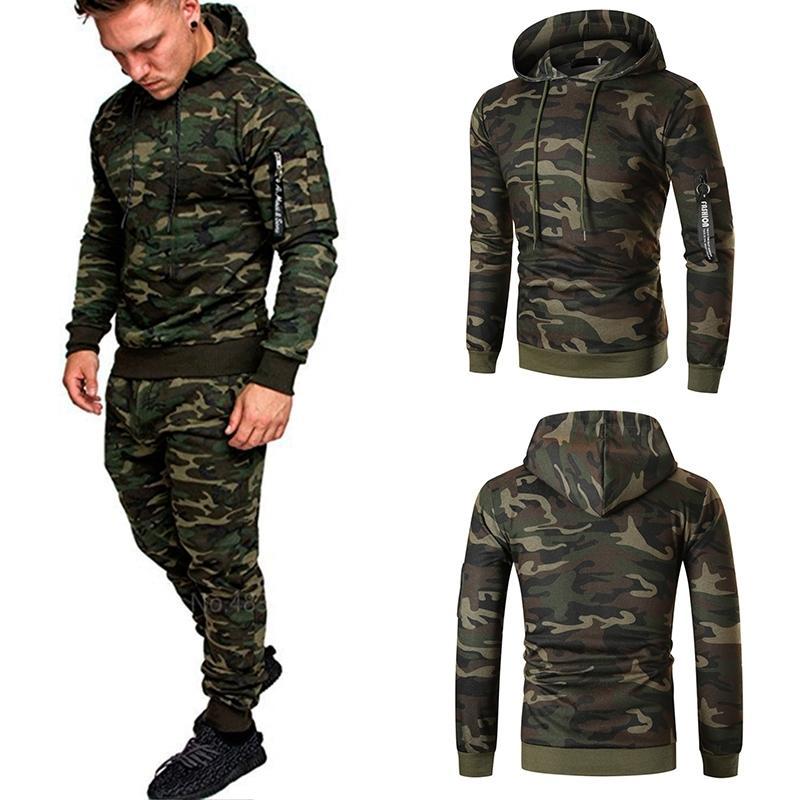 Casual Joggers Mens Tracksuits 2 Morceaux Ensembles Automne Capuche + Pantalons Camouflage Costume Gym Zipper Sportswear Sweat Costumes Vêtements pour hommes 201204
