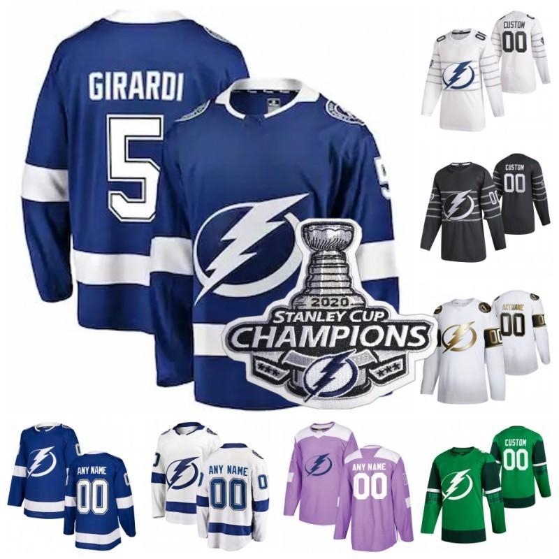 Personalizado 2020 Stanley Cup Campeões Tampa Bay Lightning Cedric Paquette Cory Conacher Curtis McElhinney Girardi Mulheres Hockey Jersey costurado