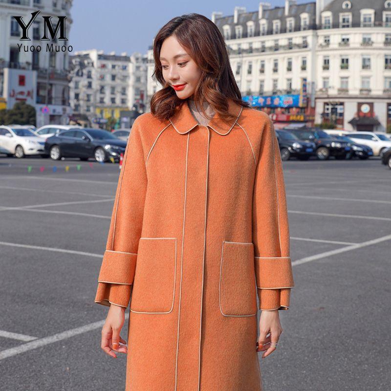 Yuoomuoo buona qualità del manicotto Cappotto Donna Stile signore coreane autunno inverno lungo sottile di lana Casaco Feminino