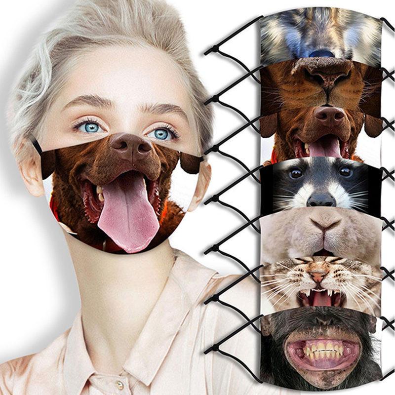 Máscaras 3D-Imprimir máscara de la cara divertida de protección del oído-Cubiertas colgando estampado de animales reutilizable lavable Boca Máscara unisex adulta Mask100pcs T1I2610